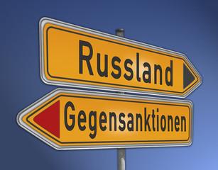 Schild Gegensanktionen Russland