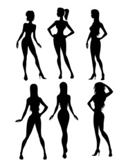 Six girls silhouette