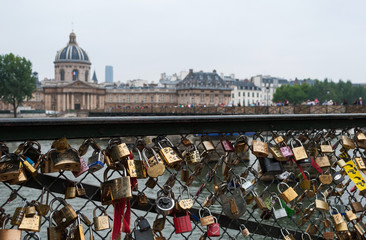 Pont des Arts. View of Mazarini's library in Paris.