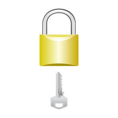 Padlock vector with a key