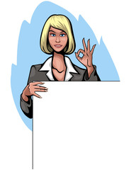 Illustration of a businesswoman with banner