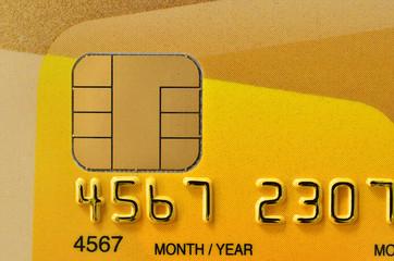 Close up of golden credit card