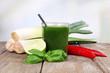 Obrazy na płótnie, fototapety, zdjęcia, fotoobrazy drukowane : Fresh vegetable juice with spring onion and chilly pepper