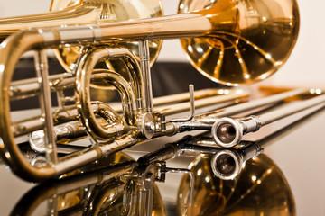 Lying trombone closeup