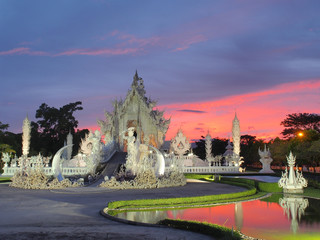 Wat Rong Khun (The White Temple) under amazed sky