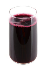 Glass of fresh beet juice isolated on white