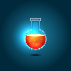 Glass Chemical Flask with Red Toxic Liquid. Vector