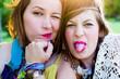 Leinwanddruck Bild - Festival people, facial expression
