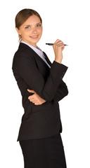 Businesswoman hold pen