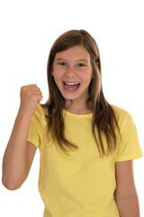 Erfolgreiches Mädchen beim Siegen oder Gewinnen
