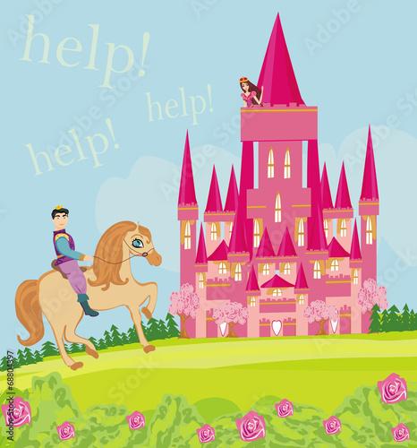 Foto op Aluminium Kasteel Prince riding a horse to the princess