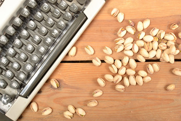 Typewriter and pistachios