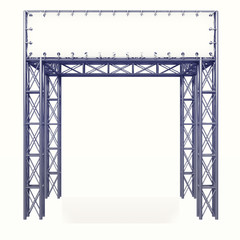 isolated steel construction framework with white board