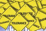 Tolerance written on multiple road sign poster