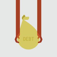 Hands hold heavy debt
