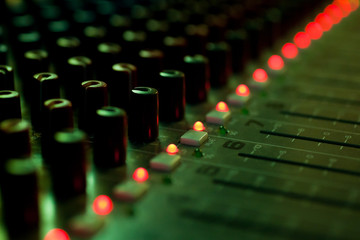 Fragment consoles sound mixer closeup