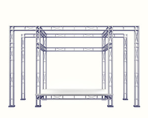 festival stage steel construction on white isolated