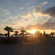 canvas print picture - Lounge mit Sonnenuntergang