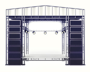 concert stage steel construction with speakers on white