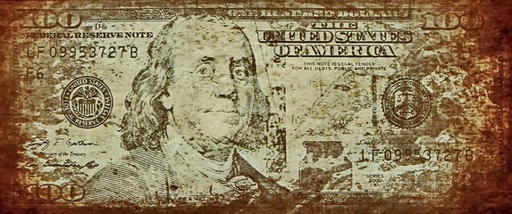 old grunge one hundred dollar bill