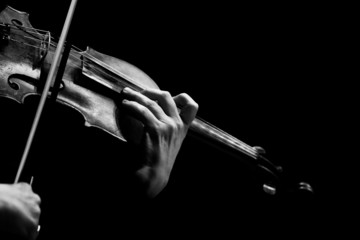 Hand of a woman playing the violin in black and white