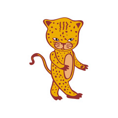 Cute leopard cartoon Cheetah vector Hand-drawn icon