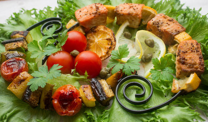 skewers of salmon and vegetables
