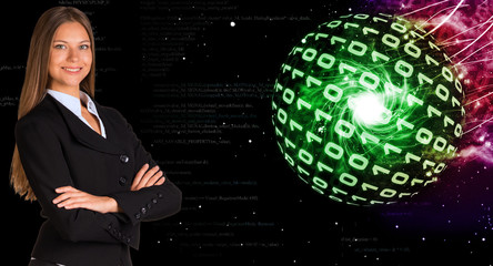 Businesswoman in a suit. Spheres of glowing digits