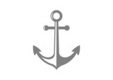 Grey anchor icon on white background