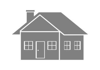 Grey house icon on white background