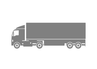 Grey truck icon on white background