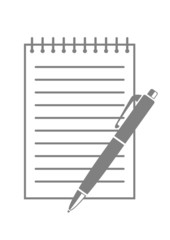 Grey ballpoint and notepad on white background