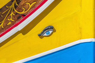 Horus or Osiris eye in Luzzu at Marsaxlokk, Malta