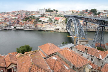 Luis I bridge over Douro river,  Porto from above,Portugal