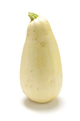 White zucchini isolated on the white background