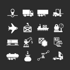 Set icons of logistic isolated on black