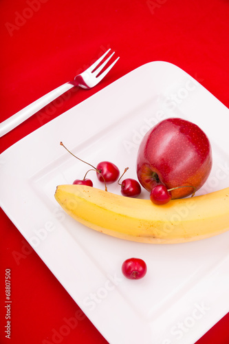 canvas print picture Obst auf dem Teller