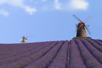 Don Quijote Kampf gegen Windmühlenflügel