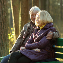 Portrait of a beautiful an elderly couple outdoors