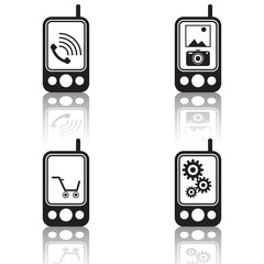 Mobile phone black vector icons