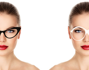 Spectacles rim design and color on pretty woman face