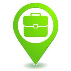 bagage à main sur symbole localisation vert