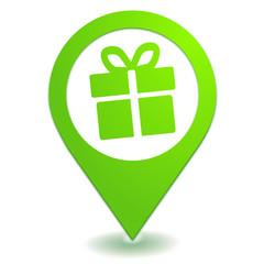 cadeau sur symbole localisation vert