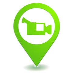 caméra vidéo sur symbole localisation vert