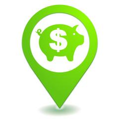 épargne dollar sur symbole localisation vert