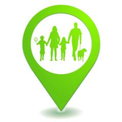 famille sur symbole localisation vert