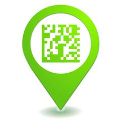 flash code sur symbole localisation vert