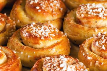 Freshly baked sweet buns or bread rolls