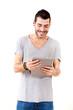 canvas print picture - Junger Mann mit Tablet Pc