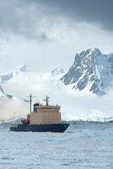 icebreaker which floats on the frozen Strait spring Antarctic